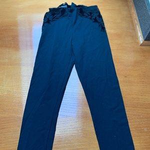 Bebe velvet mesh leggings pants